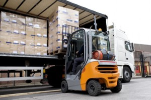 forklift moving large boxes