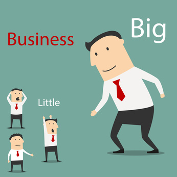 Friendly cartoon smiling big business giving hand for handshake to scared and confused small businessmen. Partnership and teamwork concept