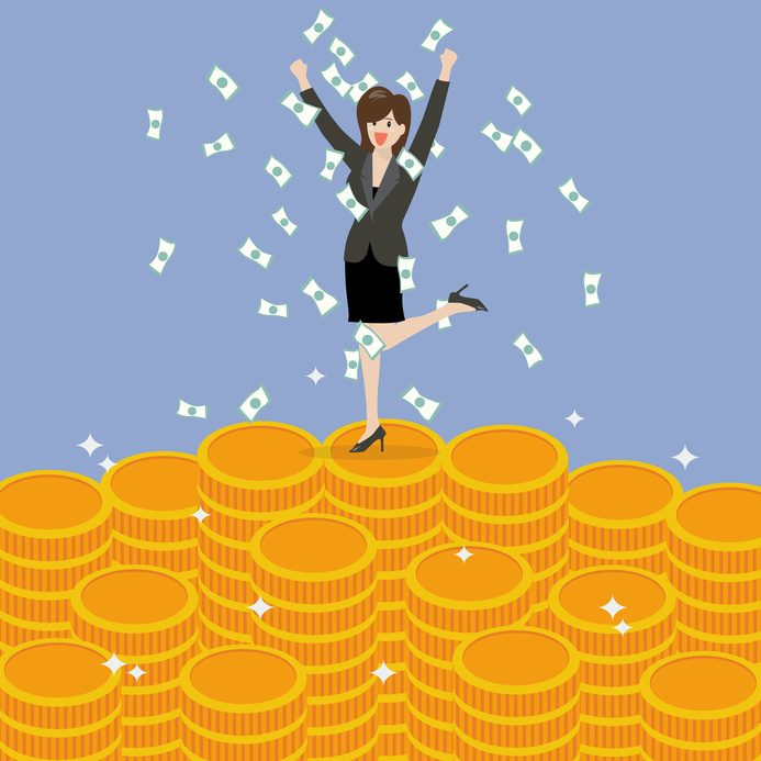 Business woman celebrating on Money. Business Success Concept