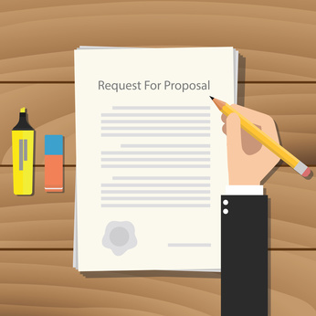 rfp request for proposal paper document vector graphic