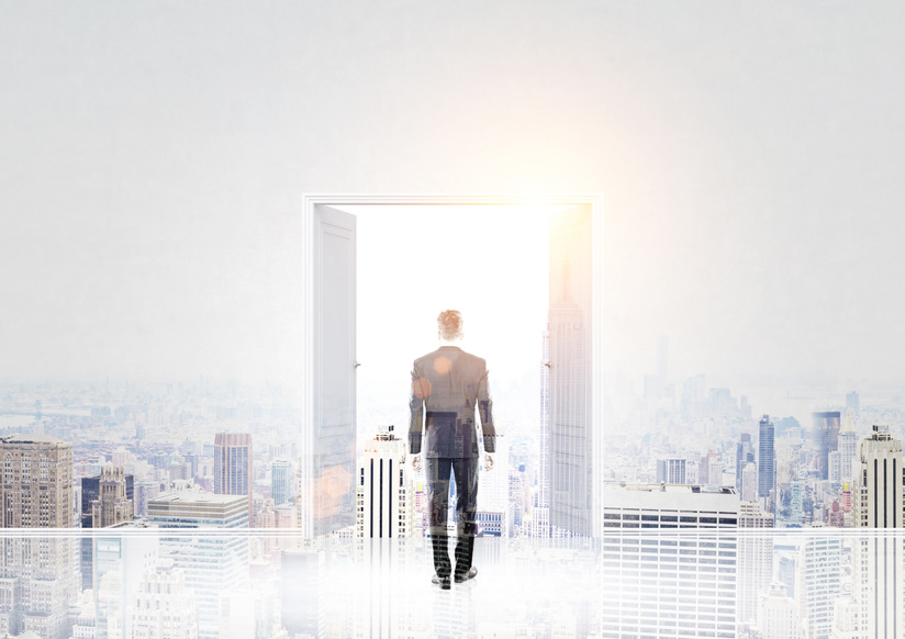Success concept with businessman standing in front of open double door with New York city view and sunlight. Double exposure